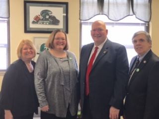 Picture: Pam Fields, State Director Advocacy and Access; Angela Young, Ambassador; Rep. Jeff Greer, Chairman House Banking and Insurance; Bill Goulet, Ambassador. Meeting with Rep. Greer to discuss passage of SB 134 with the Provider Provision left in.  2016 KY Advocacy and Access Day, February 23, 2016